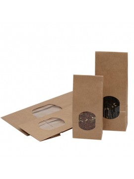 Natural brown bags with window