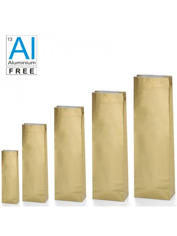 Block bottom bags classic glossy look - GOLD