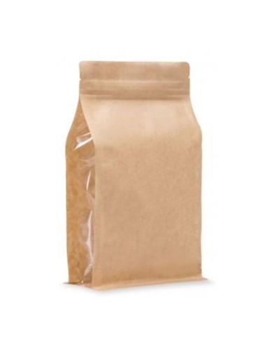 BP brown KRAFT bag with window and ZIP
