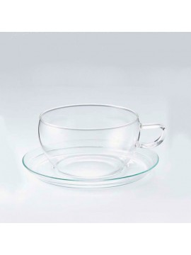 Glass cup with saucer Tea Time