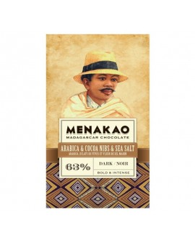 Dark chocolate 63% with coffee arabica, cocoa bean nibs and marine salt
