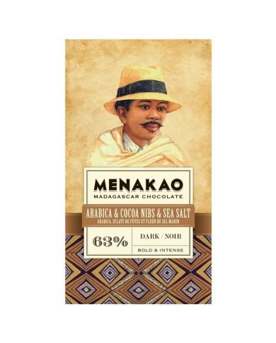 Menakao-  tmavá 63% čokoláda s kávou, soľou a kakaovými bôbami