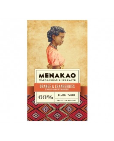 Menakao Dark Chocolate 63% Orange and Cranberries