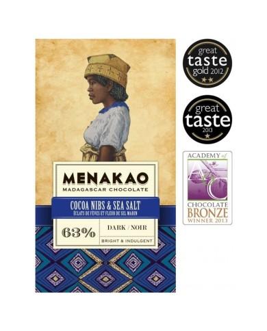 Menakao Dark chocolate 63% with cocoa nibs & salt