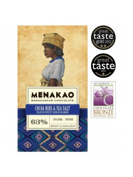 Menakao Dark chocolate 63% with cocoa nibs & salt
