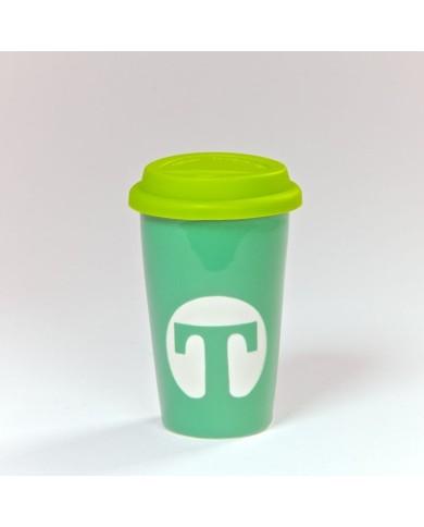 Porcelánový termo pohár zelený